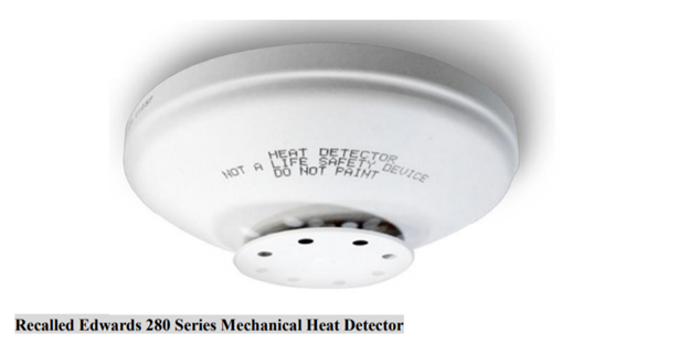 Edwards Recalls Mechanical Heat Detectors Due to Failure to Alert to Fire